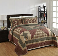 6 Piece King plymouth Quilted Bedding Set Country, Primitivenew