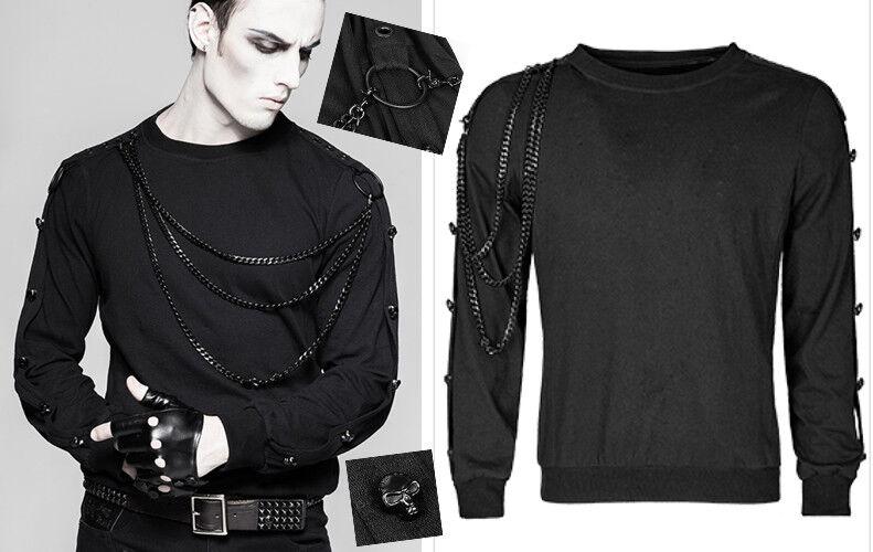 Umwandelbar Sweatshirt Oberteil Gothic Punk Militär Ketten Schädel PunkRave Mann