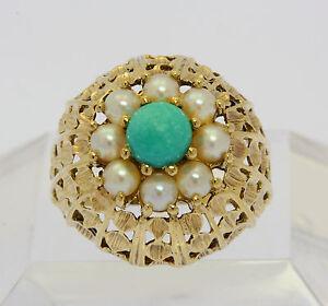 Ring-in-aus-8-kt-333-Gelb-Gold-mit-Tuerkis-Perle-Goldring-Perlenring-Tuerkisring