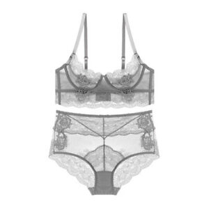d0a87ca1cbd Image is loading Ultra-thin-Transparent-Embroidery-Bra-Panty-Set-Sexy-