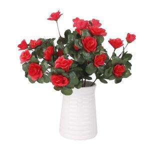 Artificial Red Azalea Flowers Bushes Fake Floral Bouquet Bunch Home Party Decor