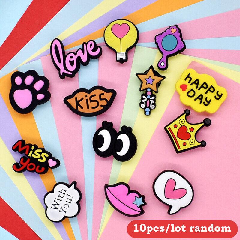 10pcs LOVE Cartoon Kids Cute Shoe Ornament Removable PVC Crocses Shoe Decorat F1