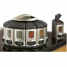 Spice Rack Carousel Storage Herb Holder Revolving Kitchen Auto Measure Stackable