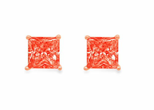 Details about  /1.5ct Princess Cut Classic Studs Red Rock Real 18K Pink Gold Earrings Push back