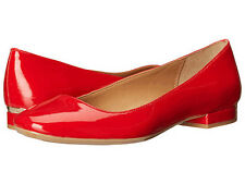 NWOB $100 Calvin Klein Felice Ballet Flat Shoes Size9.5 Lipstick Red Metal Gold