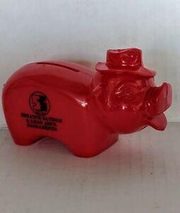 VTG-Senator-Savings-amp-Loan-ASS-039-N-Sacramento-Advertising-Red-Plastic-Piggy-Bank