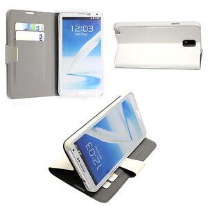 Para-Samsung-Galaxy-Note-3-GT-N9000-Blanco-Liso-Cartera-Linea-Delgado-Funda
