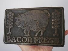 Vintage 1978 Taylor & NG Cast Iron Wood Handle Pig Design Heavy Duty BACON PRESS