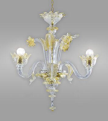 Muranese Kronleuchter aus Murano-Glas 3-armig gold klein