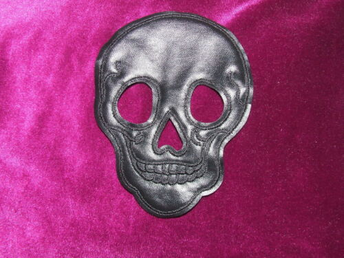 "1 Black 4x5/"" Padded Faux Leather Applique Skull Skeleton Sew On Gothic Patch"