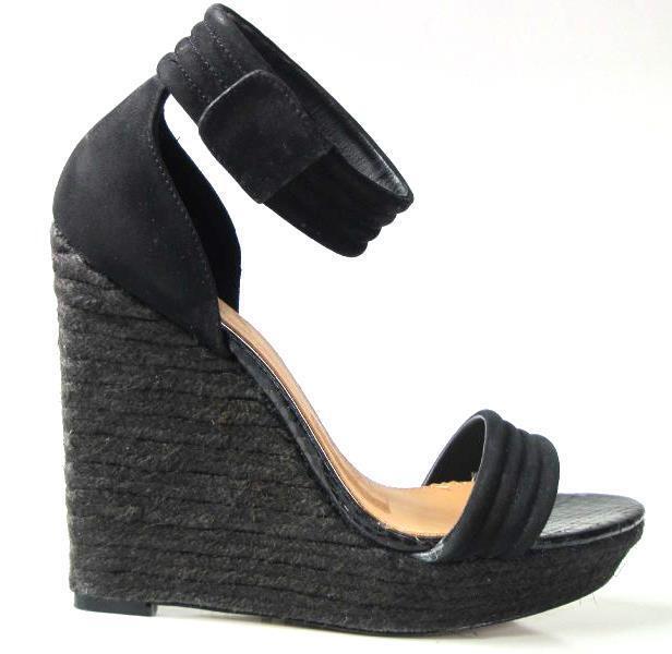 New MARK & JAMES by BADGLEY MISCHKA 'Maggie' black platforms WEDGES shoes 9 -HOT