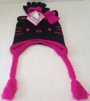 Hello Kitty Pilot Hat & Glove Set Balck With Pink One Size Fits All Girls