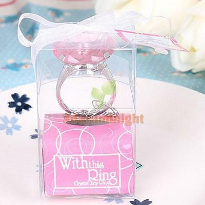 Diamond Crystal Ring Key Chain Wedding Party Gift Set Bridal Shower Favors