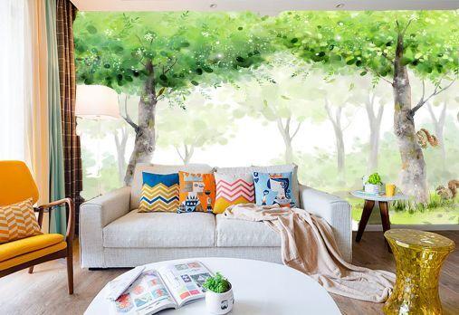 3D alberi verdi 1 Parete Murale Foto Carta da parati immagine sfondo muro stampa