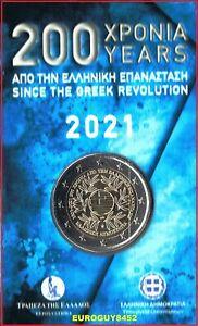 GRIEKENLAND - COINCARD 2 € COM. 2021 BU - 200e VERJAARDAG GRIEKSE REVOLUTIE