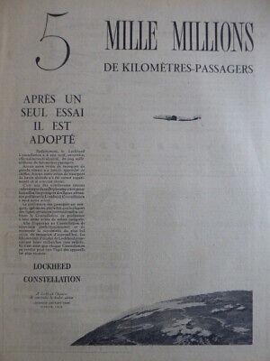 6//1955 PUB AIR INDIA AIRLINE LOCKHEED SUPER CONSTELLATION ORIGINAL FRENCH AD