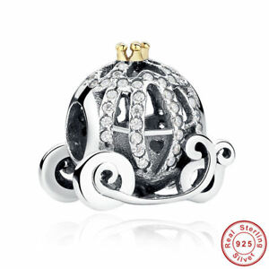 925 Sterling Silver Dis Cinderella/'s Pumpkin Cart Charm With Real 14K Gold and CZ Charm Bead Fit All European DIY  Bracelets Necklaces