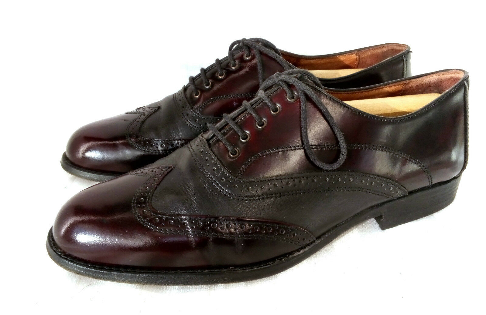 Franco Grifone SPECTATOR Full Brogue Oxford Herrenschuhe Burgundy Schwarz 44