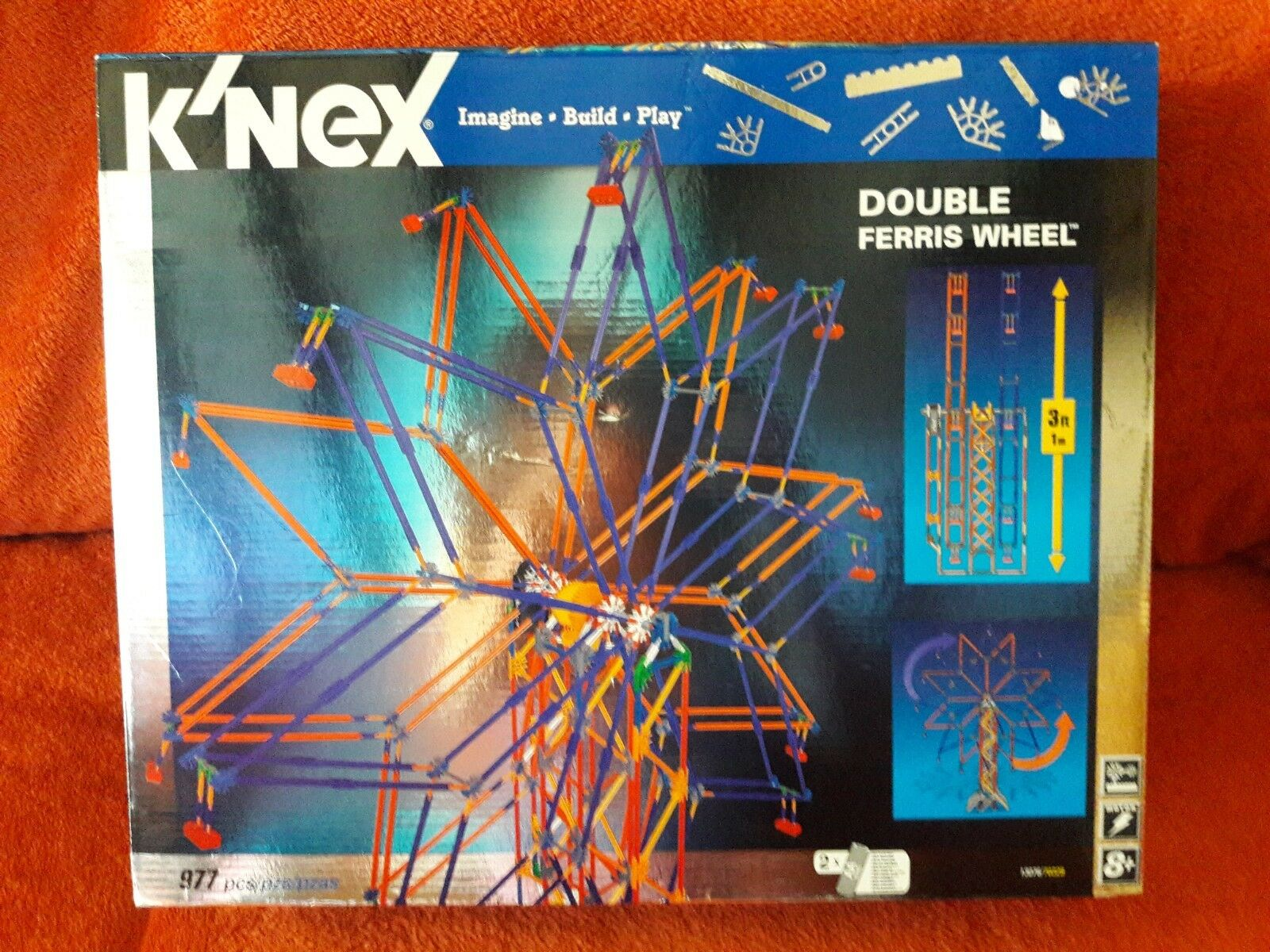 K'NEX DOUBLE FERRIS WHEEL  new MOTORIZED 3FT TALL 977 pieces model 13076 70329