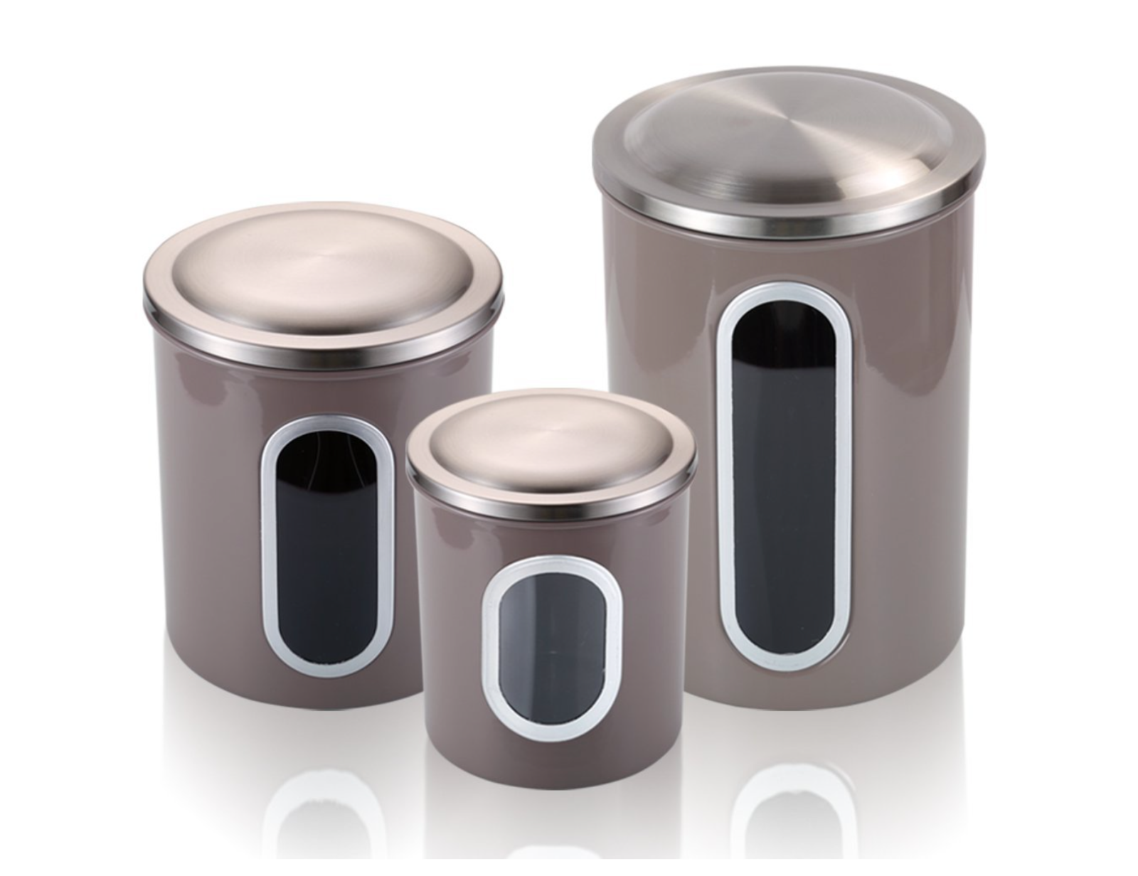 Airtight Tea Coffee Sugar Sets Storage Canisters with with with Window Anti-fingerprint 104c3b