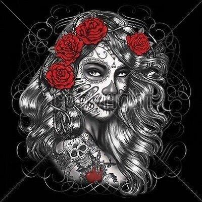Day Of The Dead Día de Muertos Skull Work Shirt Dickies Button Up Garage