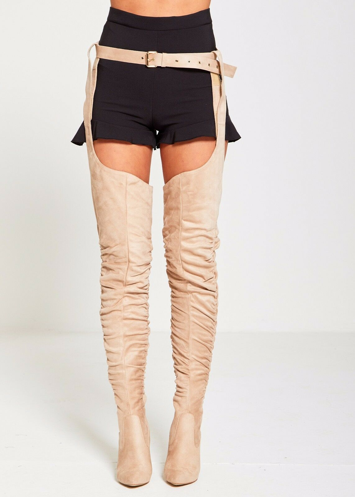 DIVADAMES Rihanna THIGH FAUX SUEDE RUCHED THIGH Rihanna HIGH BELTED BOOTS d4f3b2