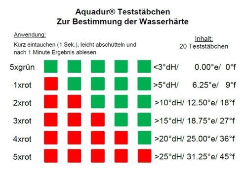 20 x Aquadur Teststäbchen Kalk Wasserhärte Teststreifen zur Messung