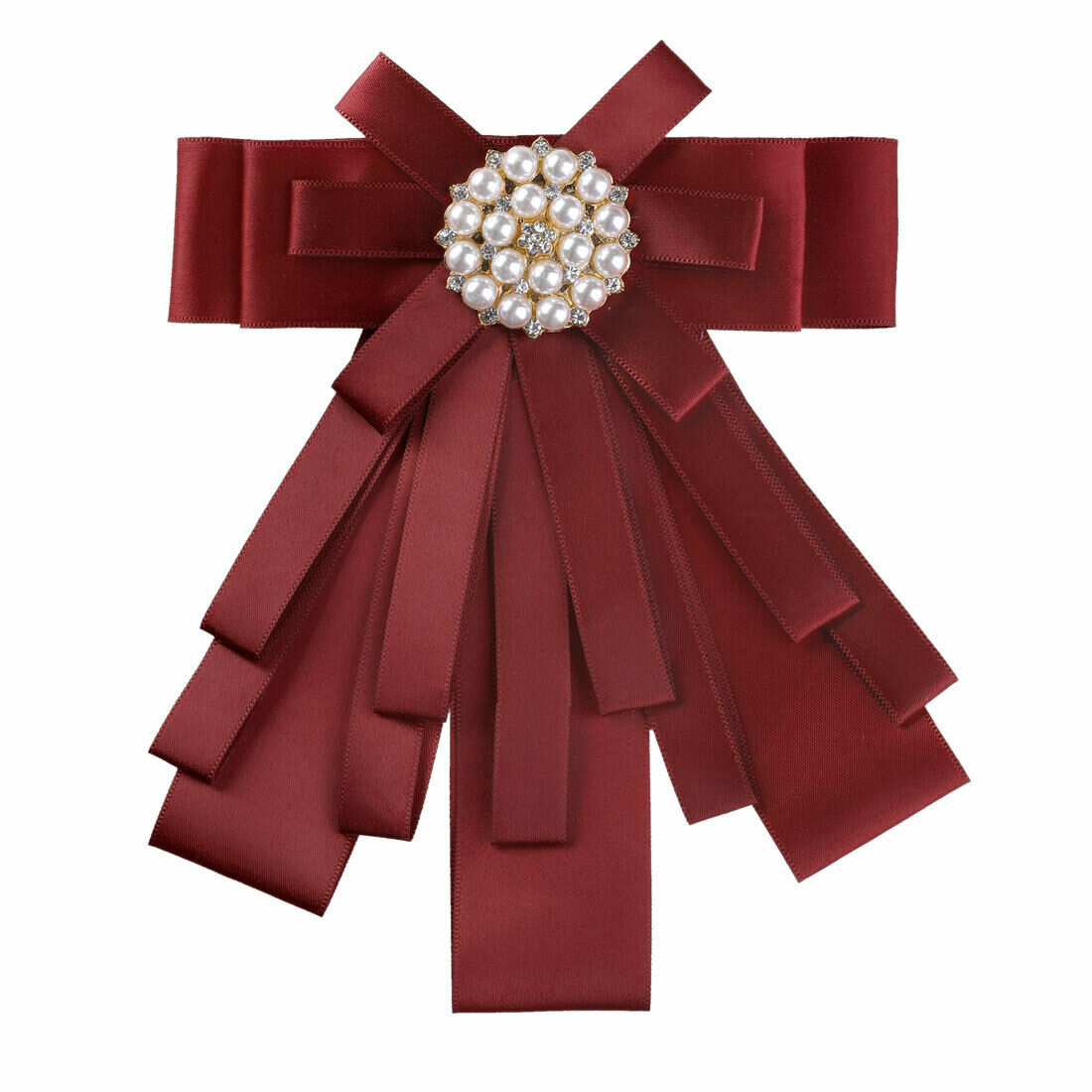 Allegra K Women's Pre-tied Pin Ribbon Bowknot Beads Party Bow Brooch