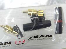 Lot de 2 (1 noir + 1 rouge) fiche RCA cinch doré mâle NYS373-0 REAN / Neutrik AG