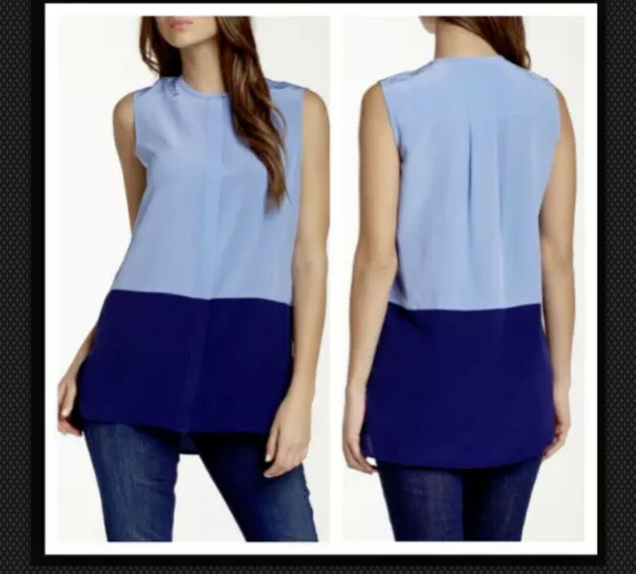 Vince blouse damen small silk Farbe block Blau button down sleeveless RP