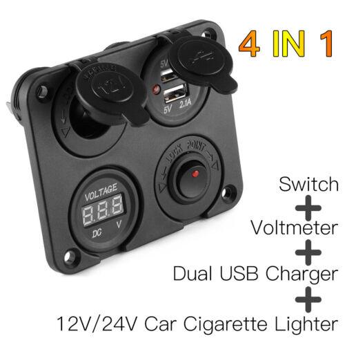 LED USB Schaltpanel Zigarettenanzünder Steckdose Ladegerät 12V 24V Boot Bus