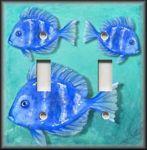 Image Is Loading Metal Light Switch Plate Cover Blue Tropical Fish