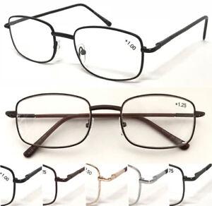L16-Unisex-Traditional-Rectangle-Metal-Frame-Reading-Glasses-Spring-Hinges-Specs