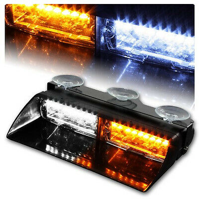 16LED White/Amber Car Police Strobe Flash Light Dash Emergency 18 Flashing Light