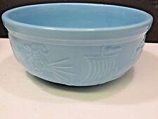 Vtg RRP Robinson Ransbottom Zephyrus Blue Pottery Serving Bowl North Wind Blows