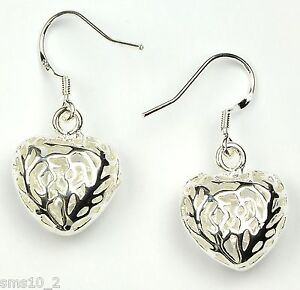 Genuine 925 Sterling Silver Large 11mm Frosted Puff Heart Studs Earrings