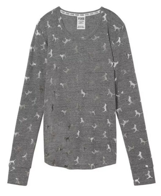 Victoria s Secret PINK Cozy Waffle Sleep Shirt Thermal Long Sleeve Dog Gray  S bb90e9163