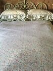 COTTAGE Look Pinks Greens Cream Floral Ruffled QUEEN Quilt Cover Set/Topper