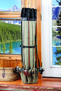 Fishing Rod Case Organizer. Carrier Holder Rack Hooks Pole Storage Bag Portable