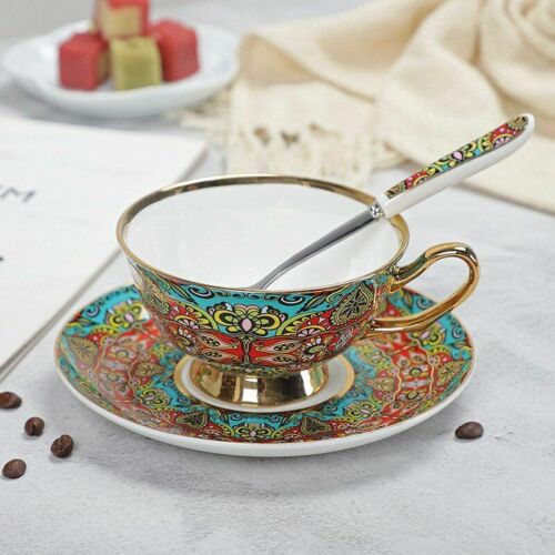 Bone Porcelain Coffee Cups 200ML Vintage Ceramic Glazed Tea Mug Saucer Spoon Set