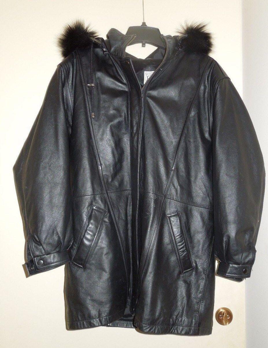 EUC Marshall Field Gear Genuine Leder Insulated Parka Fox Fur Trim Zip Hood M