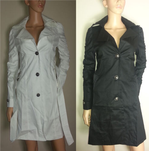 Designer Tailored Long Fitted Slim Mac Trench Button Ruched Ruffled Jacket Coat