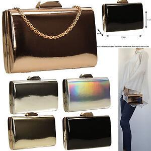 c302dedc516 La imagen se está cargando Caja-Para-Mujer-Cuero-Metalico-Plata-Oro-Rosa-