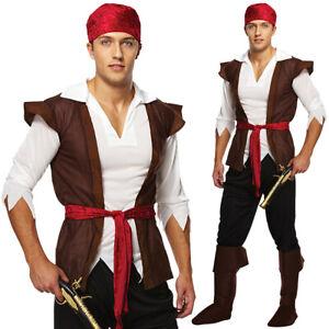 Pirate Caribbean Man Costume Mens Fancy Dress Jack Sparrow
