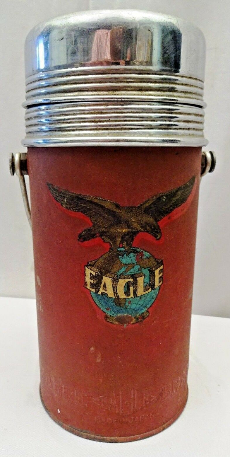 VINTAGE THERMOS FLASK VACUUM BOTTLE EAGLE BRAND MADE IN JAPAN RETRO COLLECTIBLES