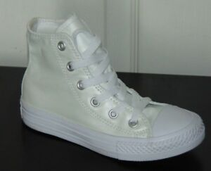 Girl s Converse Chuck Taylor All Star Hi Sneakers White-White SIZE ... bdceb1d06