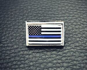 Thin-Blue-Line-American-Flag-Police-Lapel-Pin-Tie-Tac-Hat-Pin-Support-Police