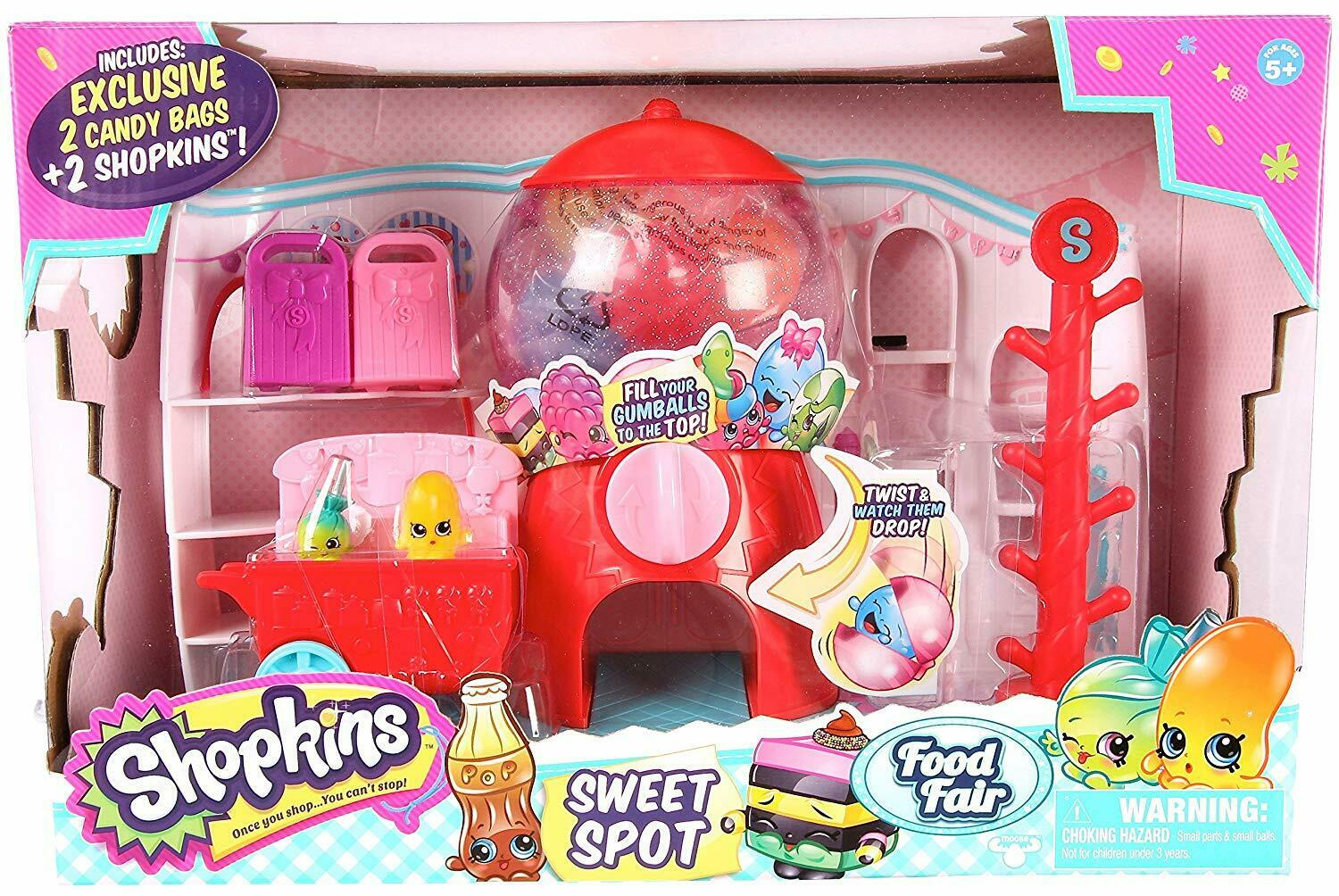 Shopkins Sweet Spot Playset Ages 5+ Toy Play Food Fair Candy Cart Lollipop Ride