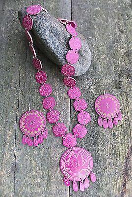 Pink Necklace & Earrings Hand Carved Gourd Folk Art Oaxaca Mexico hippie Boho