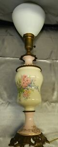 Antique-Ornate-Brass-Hand-Painted-Floral-Porcelain-Torchiere-Lamp-w-Milk-Shade